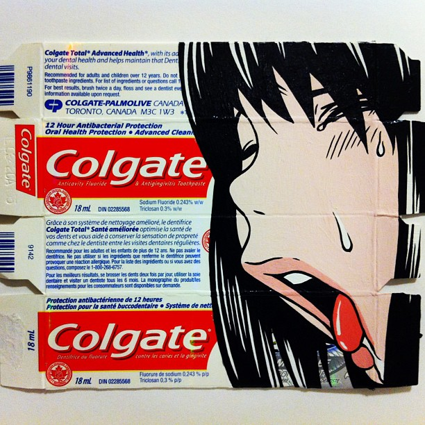 Ben Frost 'Another Cavity' acrylic on found Toothpaste packaging. 2012