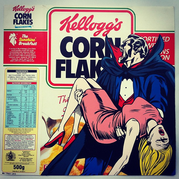 Ben Frost 'Breakfast Undead' acrylic on cereal package, 29 x 30 cm. 2013